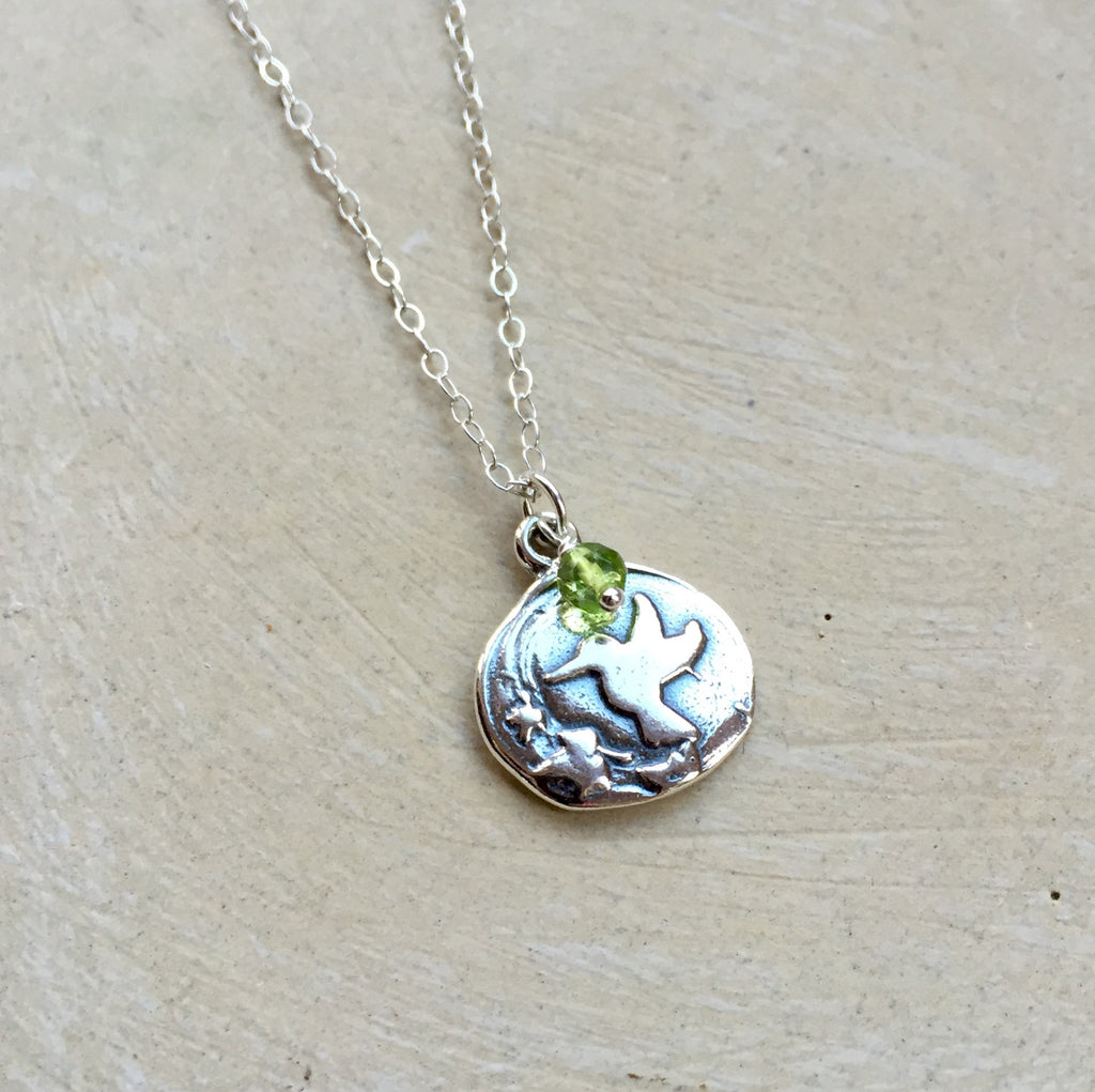 Spring Hummingbird & Leaves Necklace