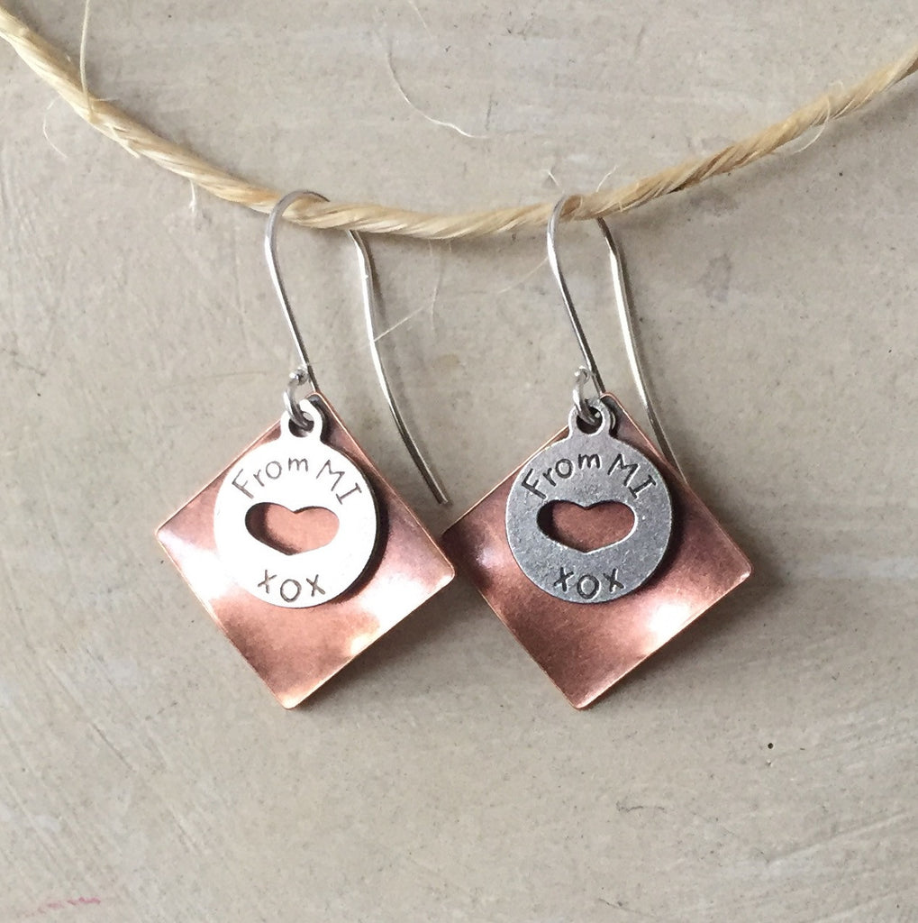Copper From MI [Heart]  Earrings