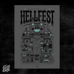 "DOCTEUR PAPER ""HELLFEST 2019 GLOW IN THE DARK "" SCREEN PRINT"