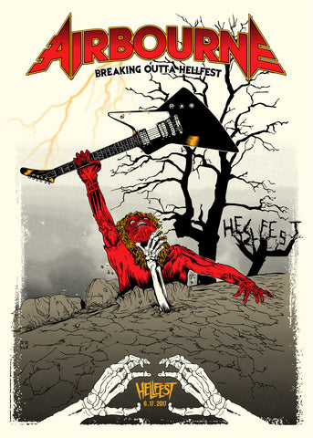 "AIRBOURNE ""Hellfest 2017"" Screen Print"