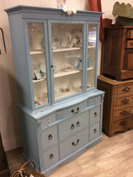Milk Painted Blue China Cabinet