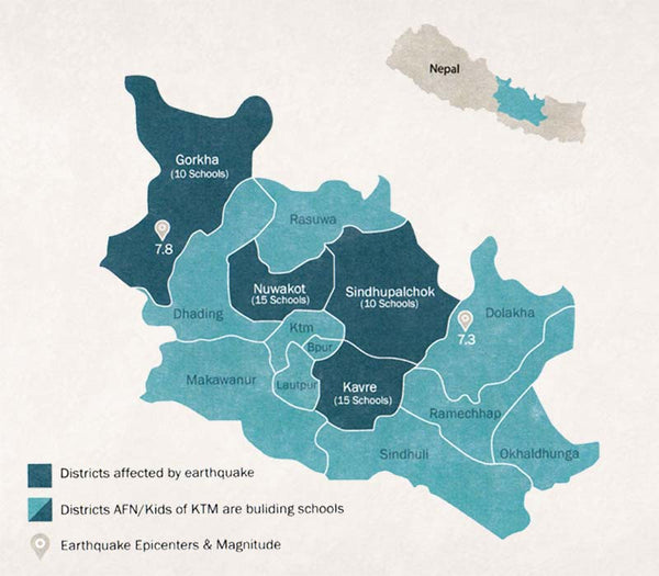 Where the schools are being built in Nepal