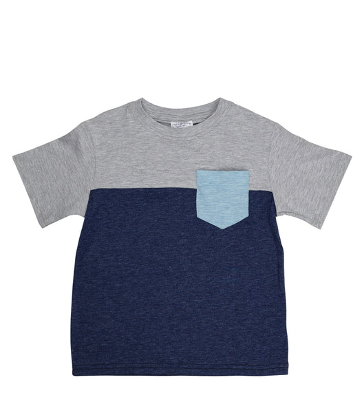 Color Block Tee | Navy Grey