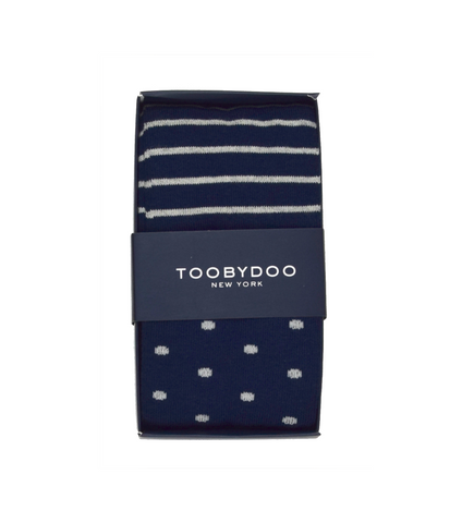 Dots & Stripes | Navy (Set of 2)