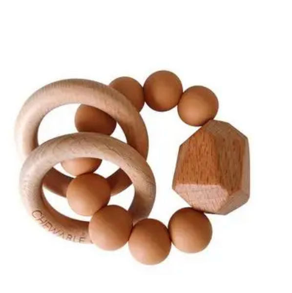 CC Wood Teething Ring - terra cotta