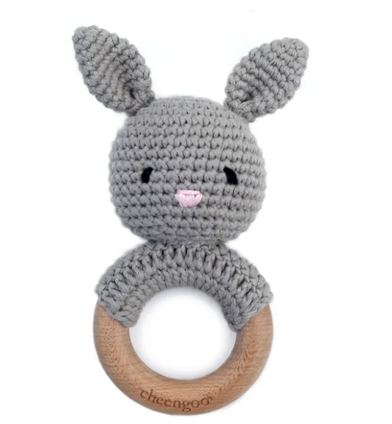 CGO BUNNY GREY TEETHING RATTLE
