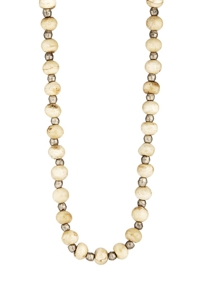 Avindy long chunky cream bead necklace