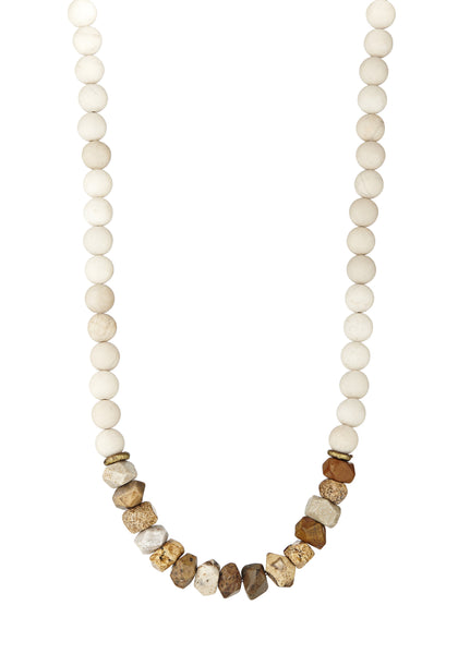 Avindy chunky long neutral beaded necklace