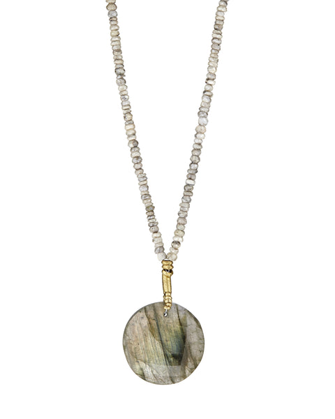 Long labradorite pendant necklace