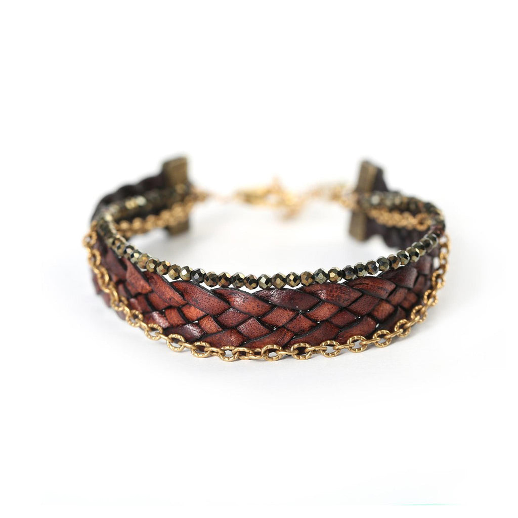 Braided Leather with Spinel