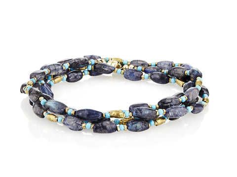 Iolite with Pops of Turquoise