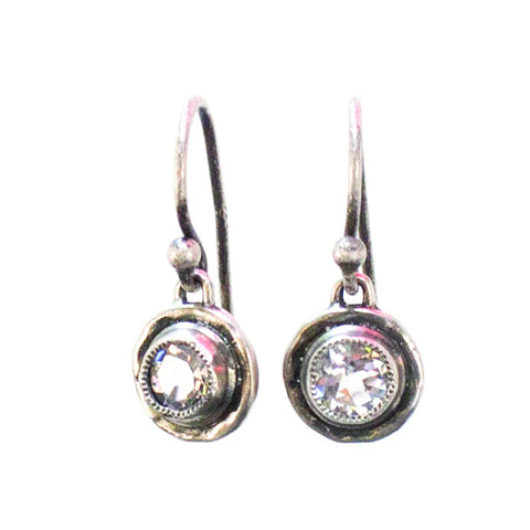 Topaz Bezel Earrings Silver
