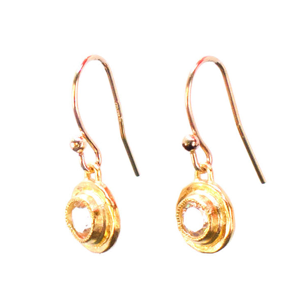 Topaz Bezel Earrings Gold