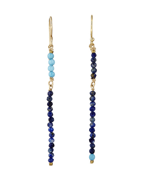 Long navy and turquoise stick earrings