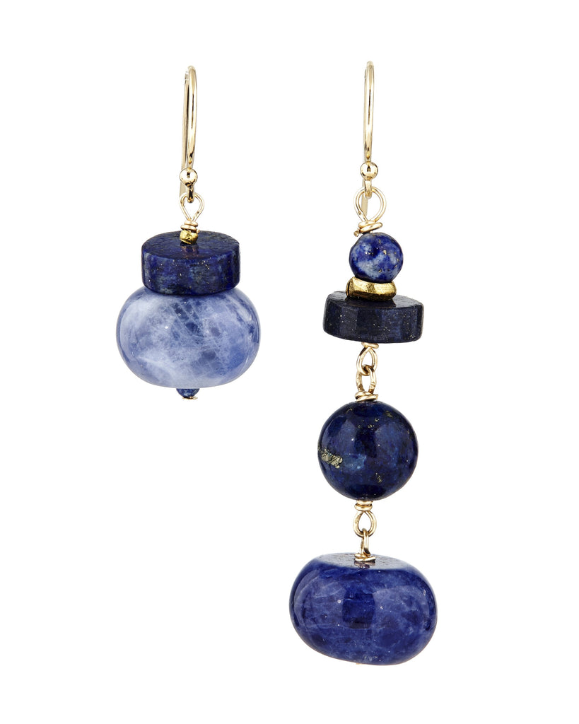 Mismatched navy gemstone earrings