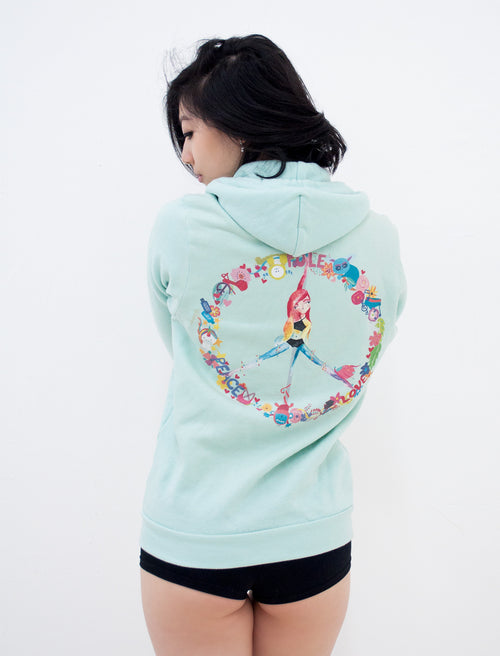 Peace, Pole, Love Zip Up Fleece Hoodie - Push + Pole - 1
