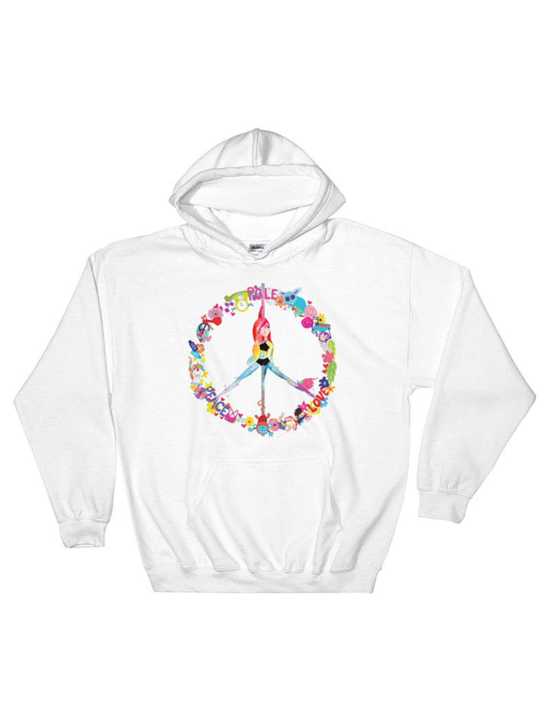 Peace, Pole, Love Fleece Pullover Hoodie