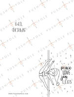 """Peace, Love, Joy, Legs"" Spatchcock Pole Dancing Coloring Holiday Christmas Card"