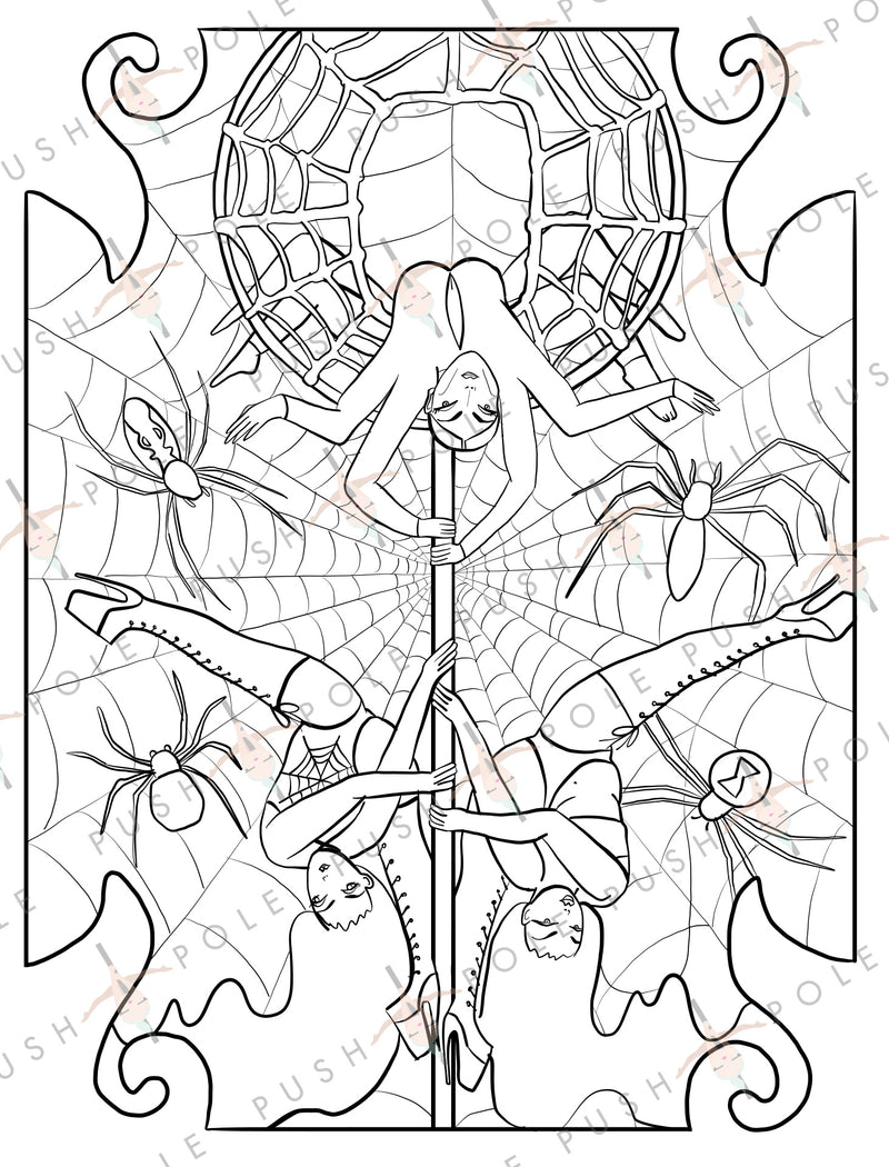 "Spider Halloween Pole Dancer Digital Coloring Page 8.5"" x 11"""