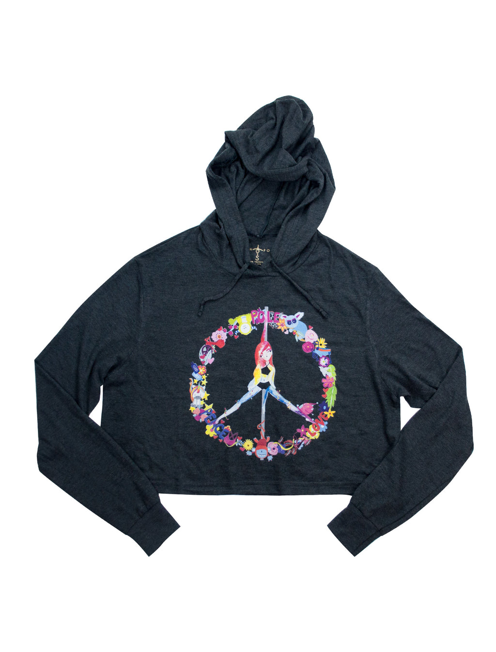 Peace, Pole, Love Cropped Hoodie