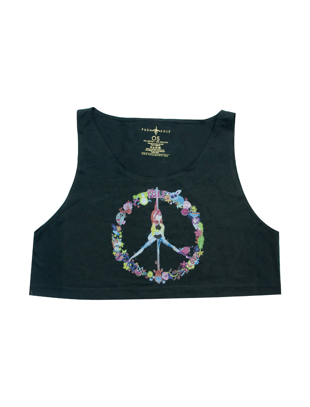 Peace, Pole, Love Loose Crop Tank