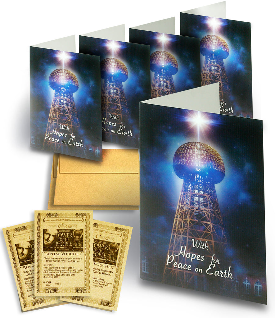 TESLA TOWER Holiday Card 5-PACK w/Movie Vouchers  (Version 2)