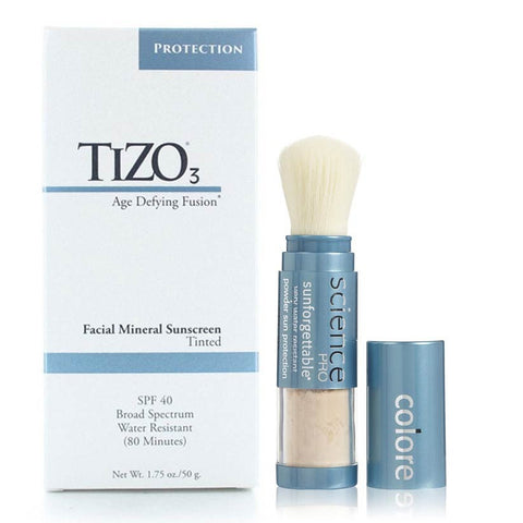 Combo Sun Block: Tizo 3 Tinted y Sunforgettable Brush Medium SPF 50, Uriage - Labrís