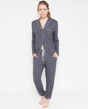 Aspen Revere Collar Knit Pyjama Set - Sheer Essentials Lingerie & Swim