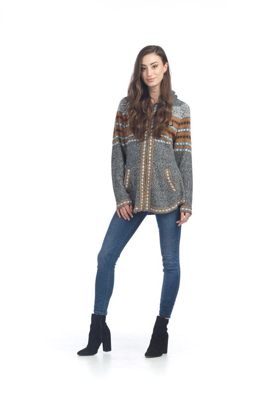 Soft Fairisle Knit Zip Hooded Jacket
