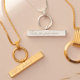 Personalised T-Bar Silver Necklace