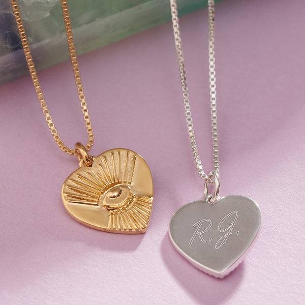 """Protective"" Tattoo Heart Necklace - Gold"