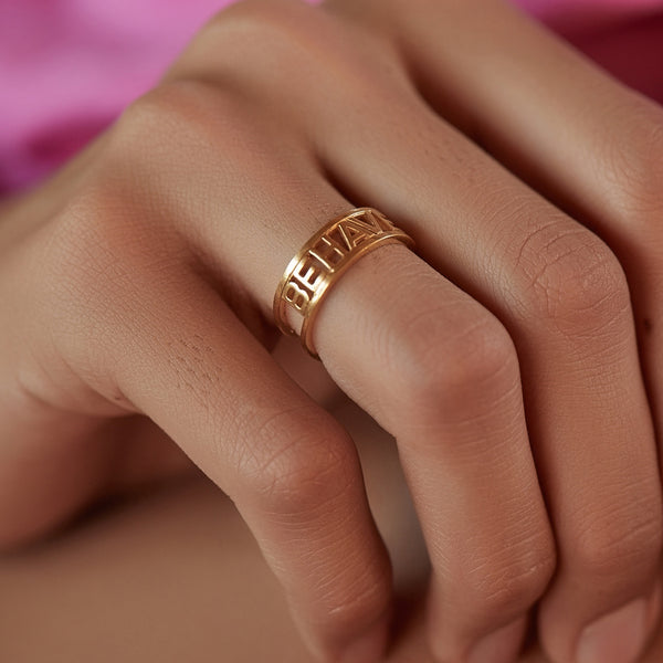 """Rave / Behave"" Reversible Ring - Gold"