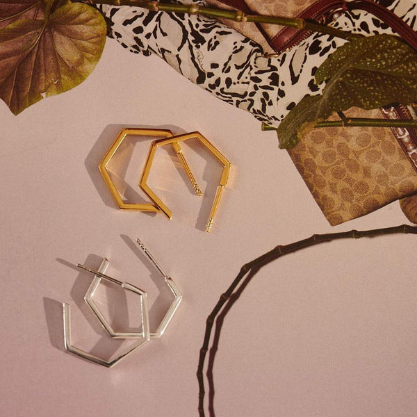Medium Hexagon Hoop Earrings - Silver