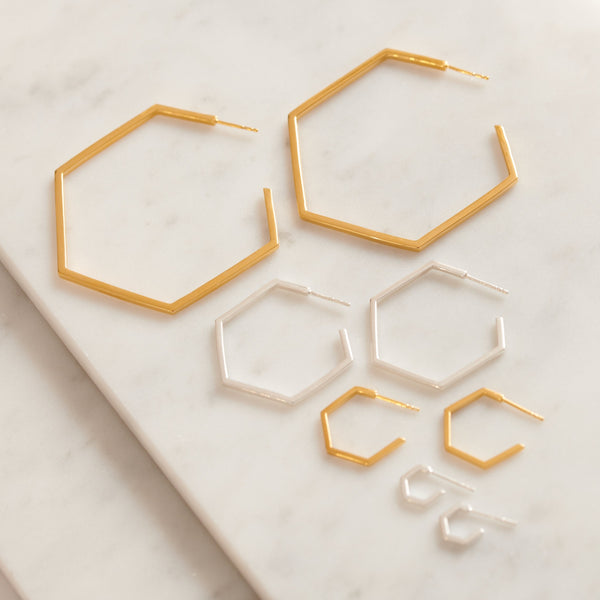 Mini Hexagon Hoop Earrings - Silver