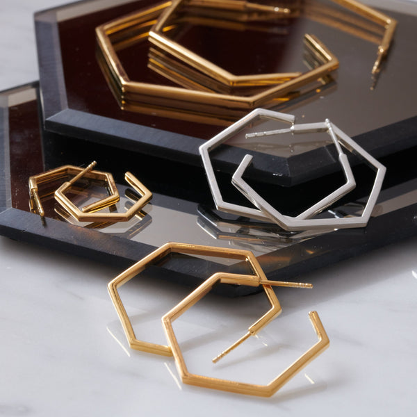 Large Hexagon Hoop Earrings - Gold
