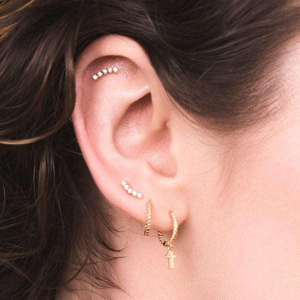 Solid Gold and Diamond Curved Stud Earring