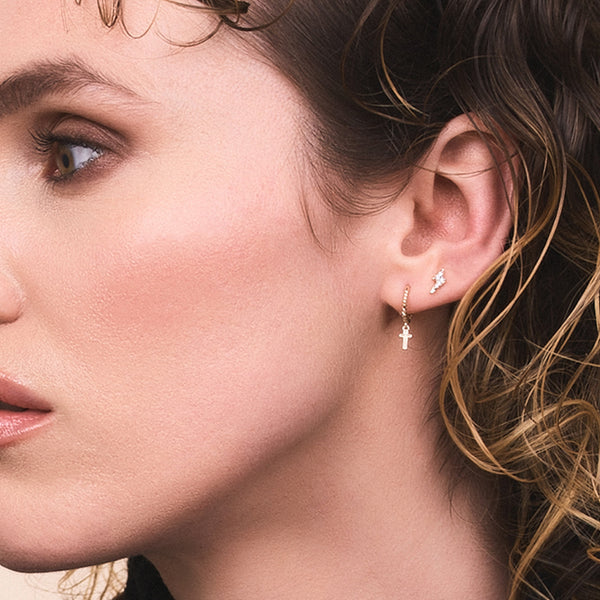 Solid Gold and Diamond Lightning Bolt Stud Earring