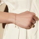 Mini Mother of Pearl T-Bar Gold Bracelet