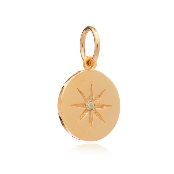 Mother of Daughters August Birthstone disc charm gold Rachel Jackson London