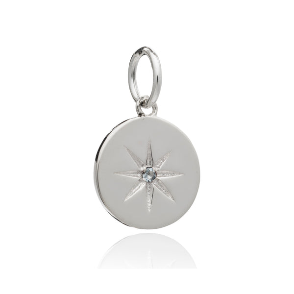 Birth Star & Moon Charm Necklace - Silver