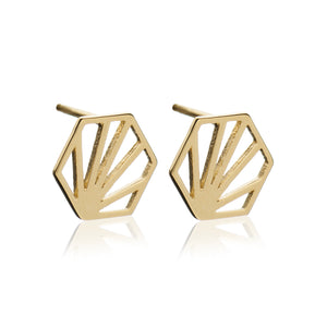 Serenity Hexagon Stud Earrings - Gold