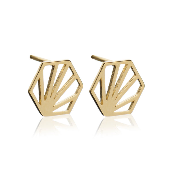 Hexagon studs gold Rachel Jackson London