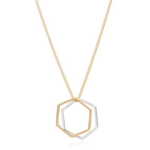Hexagon Rings Necklace - Gold