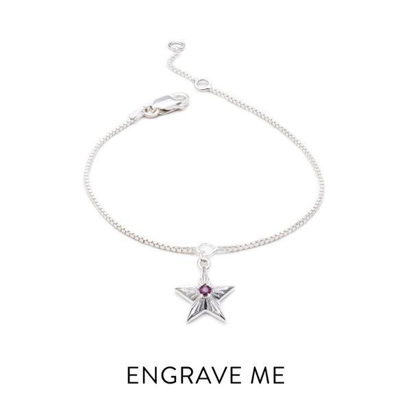 """Lucky"" Personalised Birthstar Bracelet - Silver"