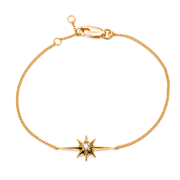 Diamond star chain bracelet gold Rachel Jackson London