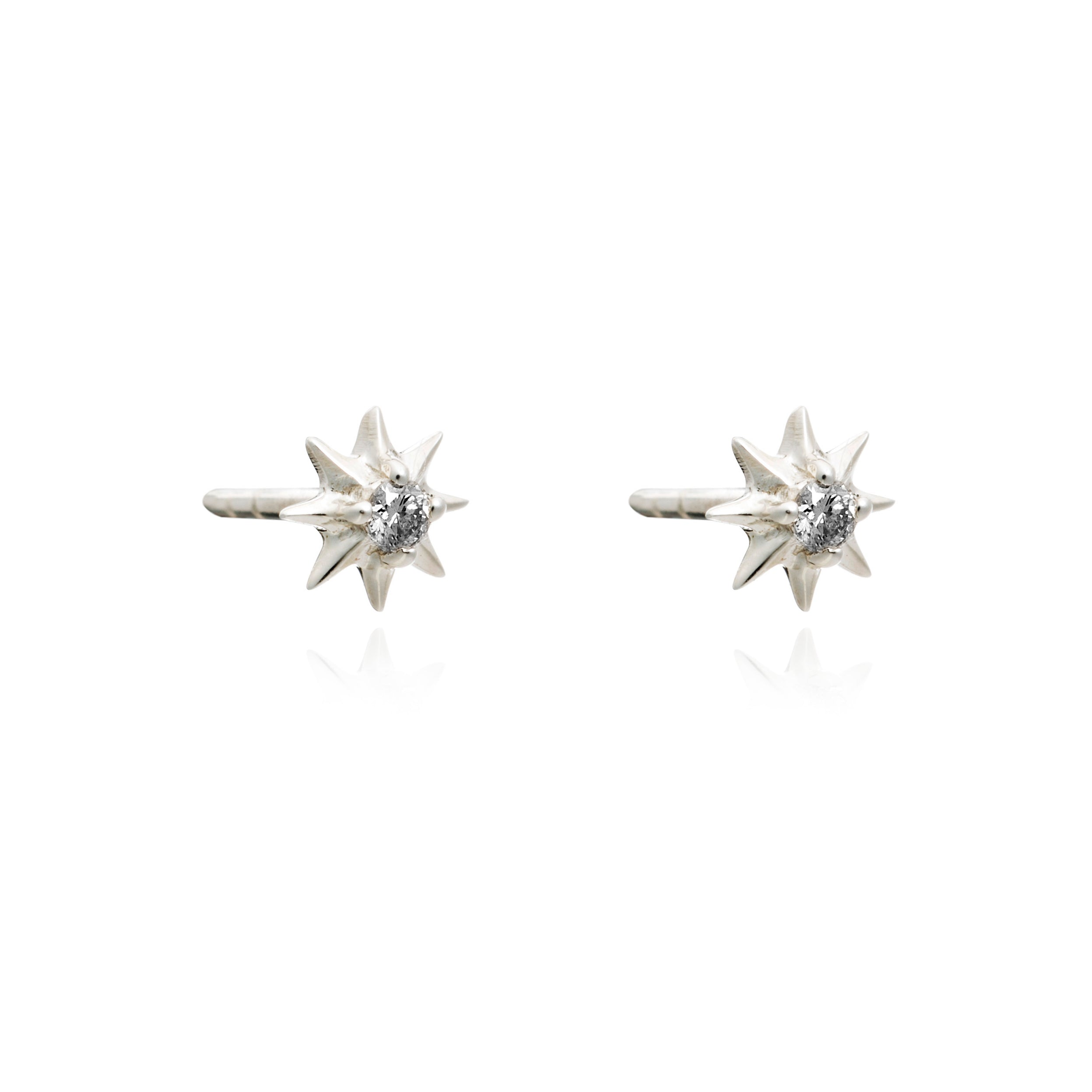 Diamond star stud earrings silver Rachel Jackson London
