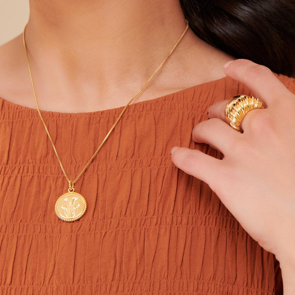 Dina Tokio Gold Papyrus Coin Necklace