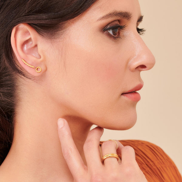 Dina Tokio Gold Rope Eternity Circle Studs