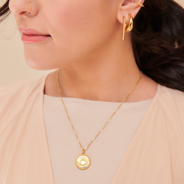 Dina Tokio Gold Crescent Moon Coin Necklace