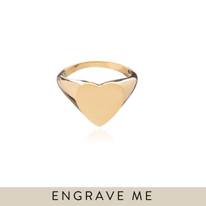 Large Heart Signet Ring - Gold - P